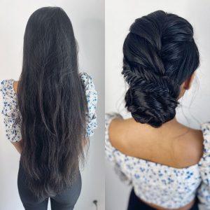 Brautfrisur mit Dutt für sehr lange Haare