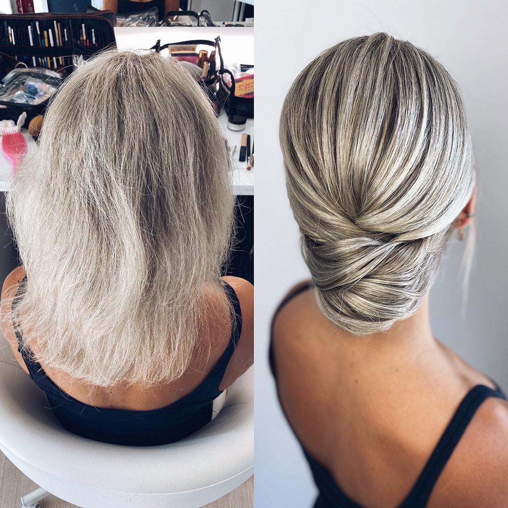 Moderne, schlichte Brautfrisur für krause Haare