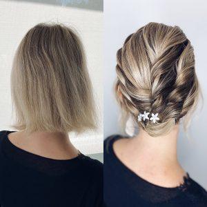 Vorher Nachher Hochsteckfrisur für kurze Haare