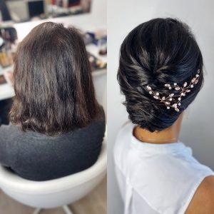 Lockere Hochsteckfrisur für kurze Haare