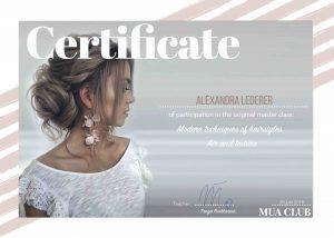 Certificate Tonya Stylist Alexandra Lederer