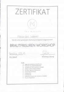 Ina Möller Brautfrisuren Workshop Zertifikat