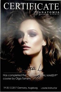 Olga Tomina Make-up Masterclass 2017 Zertifikat